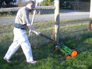 Ryan mowing lawn
